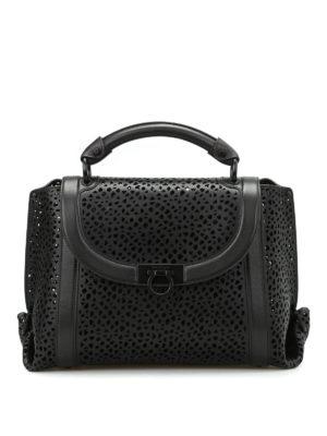 Salvatore Ferragamo: bowling bags - Soft Sofia laser cut medium handbag