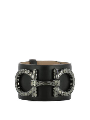 Salvatore Ferragamo: Bracelets & Bangles - Double Gancio leather bangle