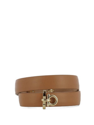 Salvatore Ferragamo: Bracelets & Bangles - Gancio brown leather double bangle