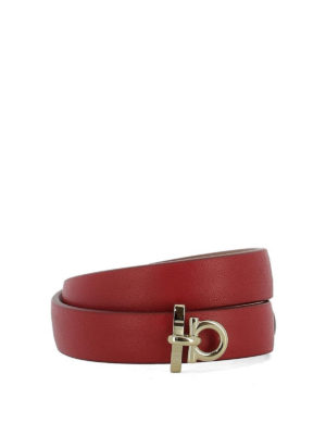 Salvatore Ferragamo: Bracelets & Bangles - Gancio red leather double bangle