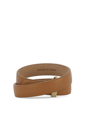 Salvatore Ferragamo: Bracelets & Bangles online - Gancio brown leather double bangle