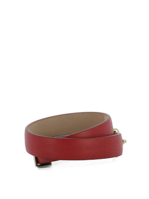 Salvatore Ferragamo: Bracelets & Bangles online - Gancio red leather double bangle