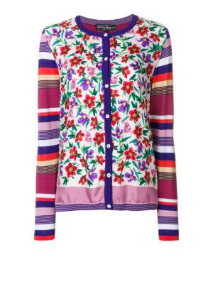 SALVATORE FERRAGAMO: cardigan - Cardigan a fiori e righe