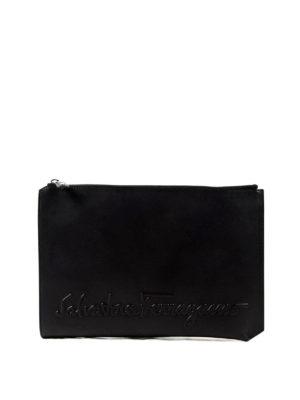 Salvatore Ferragamo: clutches - Embossed logo leather clutch