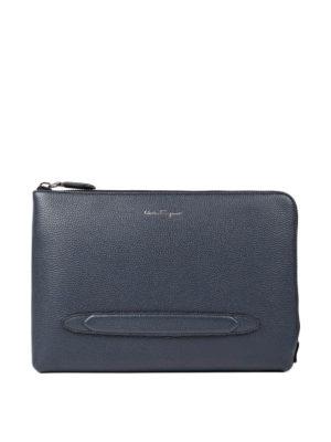 Salvatore Ferragamo: clutches - Firenze grained leather clutch