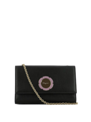 Salvatore Ferragamo: clutches - Flower detailed leather clutch