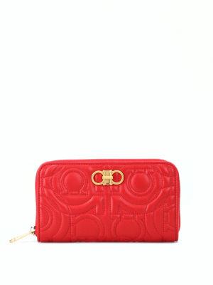 SALVATORE FERRAGAMO: pochette - Pochette portafoglio Gancini rossa