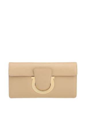Salvatore Ferragamo: clutches - Gancio detail smooth leather clutch
