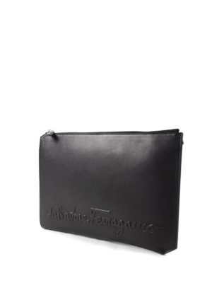 Salvatore Ferragamo: clutches online - Embossed logo leather clutch