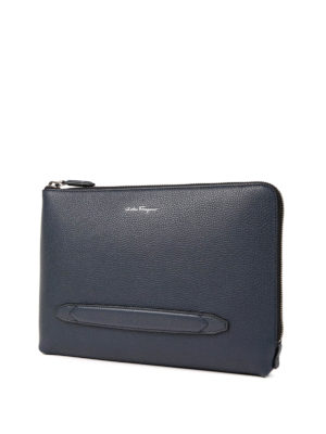 Salvatore Ferragamo: clutches online - Firenze grained leather clutch