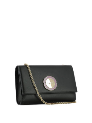 Salvatore Ferragamo: clutches online - Flower detailed leather clutch