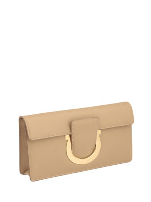 Salvatore Ferragamo: clutches online - Gancio detail smooth leather clutch