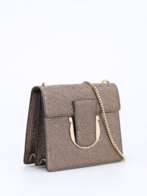 Salvatore Ferragamo: clutches online - Thalia coarse metallic leather bag