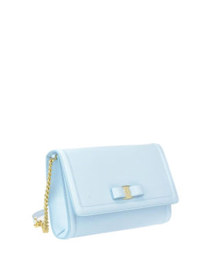 Salvatore Ferragamo: clutches online - Vara light blue leather mini bag