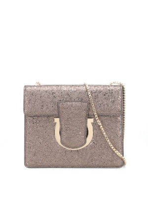 Salvatore Ferragamo: clutches - Thalia coarse metallic leather bag