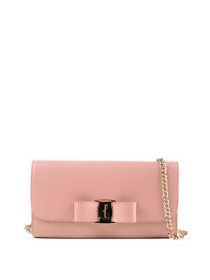 SALVATORE FERRAGAMO: pochette - Clutch portafoglio Vara Bow rosa