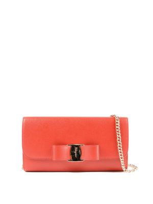 SALVATORE FERRAGAMO: pochette - Clutch portafoglio Vara Bow rossa