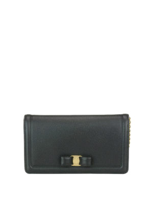 Salvatore Ferragamo: clutches - Vara leather chain clutch