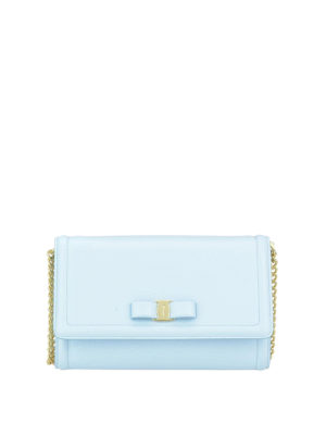 Salvatore Ferragamo: clutches - Vara light blue leather mini bag