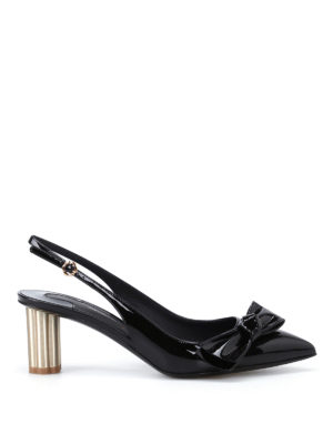 Salvatore Ferragamo: court shoes - Aulla55 black patent slingbacks