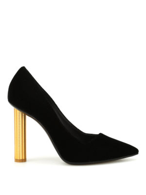 Salvatore Ferragamo: court shoes - Barix5 gold heel velvet pumps