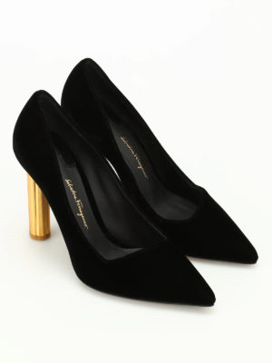 Salvatore Ferragamo: court shoes online - Barix5 gold heel velvet pumps