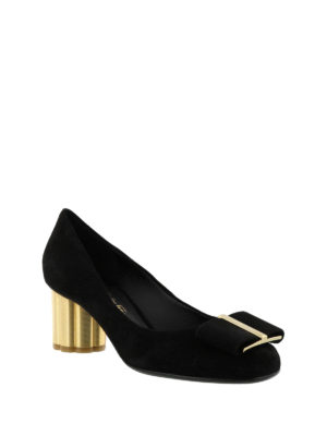 Salvatore Ferragamo: court shoes online - Velvet court shoes with flower heel