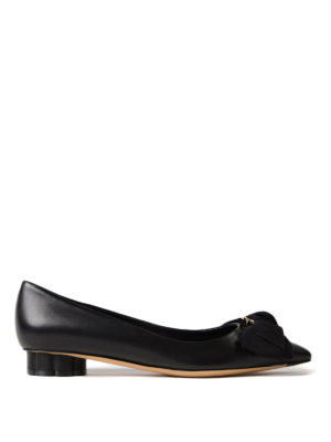 Salvatore Ferragamo: court shoes - Peony bow low Flower heel pumps