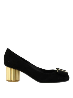 Salvatore Ferragamo: court shoes - Velvet court shoes with flower heel
