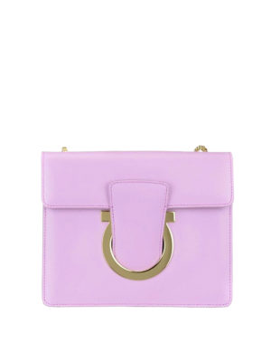 Salvatore Ferragamo: cross body bags - Gancini light purple leather bag