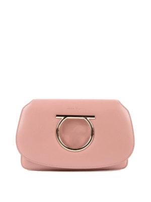 SALVATORE FERRAGAMO: borse a tracolla - Mini borsa Gancini in pelle rosa