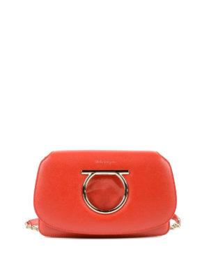 SALVATORE FERRAGAMO: borse a tracolla - Mini borsa Gancini in pelle rossa