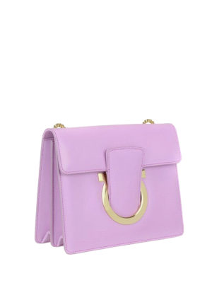 Salvatore Ferragamo: cross body bags online - Gancini light purple leather bag