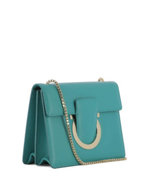 Salvatore Ferragamo: cross body bags online - Thalia teal green leather bag