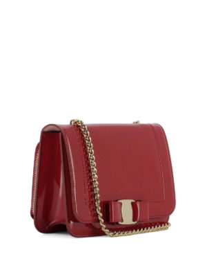 Salvatore Ferragamo: cross body bags online - Vara Rainbow red patent leather bag