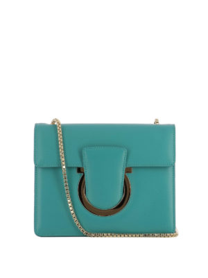 Salvatore Ferragamo: cross body bags - Thalia teal green leather bag
