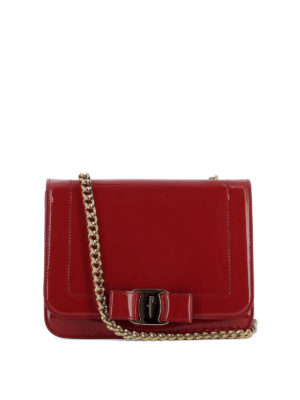Salvatore Ferragamo: cross body bags - Vara Rainbow red patent leather bag