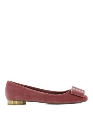 Salvatore Ferragamo: flat shoes - Capua bow detailed velvet flats