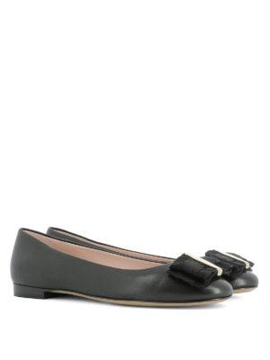 Salvatore Ferragamo: flat shoes online - Bow detail leather flats