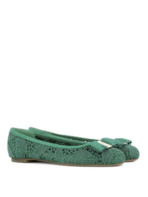 Salvatore Ferragamo: flat shoes online - Broderie anglaise ballerinas