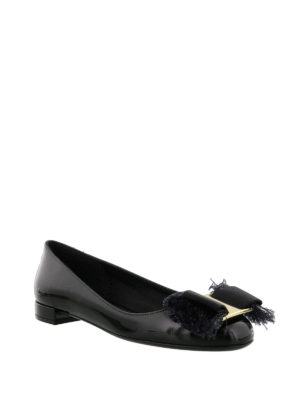 Salvatore Ferragamo: flat shoes online - Fringe bow flat shoes