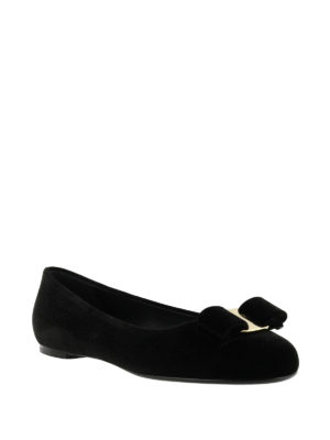 Salvatore Ferragamo: flat shoes online - Velvet flat shoes with bow