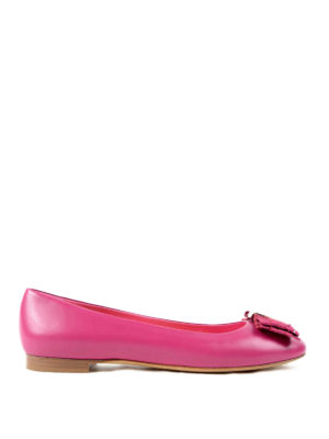 Salvatore Ferragamo: flat shoes - Vara bow leather flat shoes