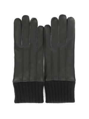 Salvatore Ferragamo: gloves - Leather gloves with knitted hem