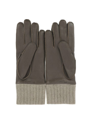 Salvatore Ferragamo: gloves online - Leather gloves with knitted hem