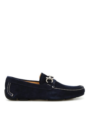 Salvatore Ferragamo: Loafers & Slippers - Clamp detail suede loafers