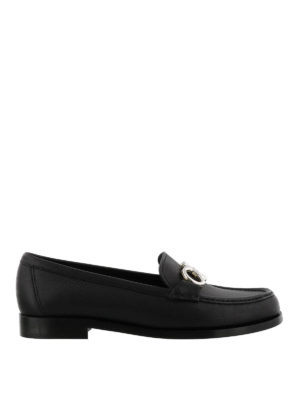 SALVATORE FERRAGAMO: Mocassini e slippers - Mocassini Gancini neri in pelle