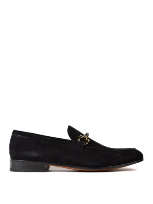 Salvatore Ferragamo: Loafers & Slippers - Gancini woven detail suede loafers