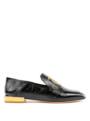 SALVATORE FERRAGAMO: Mocassini e slippers - Mocassini neri Lana con tacco specchio