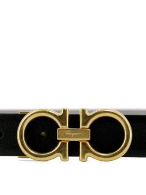 SALVATORE FERRAGAMO: cinture online - Cintura reversibile in pelle nera e grigia